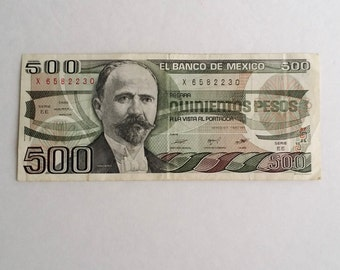 1984 Mexico 500 Pesos Banknote. 1984 Mexico Five Hundred Pesos Banknote. Mexico 500 Pesos Bill