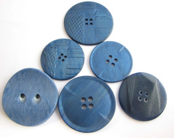 6 large blue casein buttons, assorted embossed art deco buttons, unused vintage supplies!!