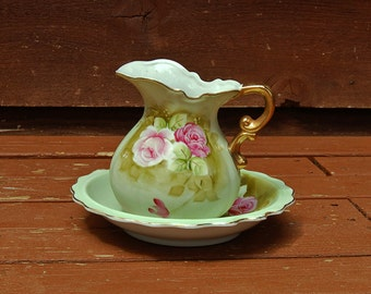 Small Rose Pitcher and Basin, Vintage Lifton China Wash Basin Set, Hand Painted Floral Pitcher and Bowl
