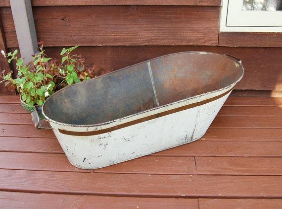 Antique Tin Baby Bathtub Vintage Baby Bath Old Tin Tub