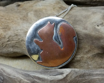Handmade Red Squirrel necklace sterling silver and copper