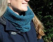 Soft cowl scarf, deep teal green alpaca and wool, hand knit simple textured pattern, infinity scarf