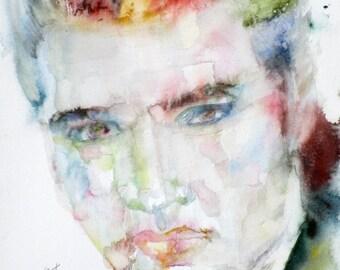 ELVIS PRESLEY - original watercolor portrait - one of a kind!