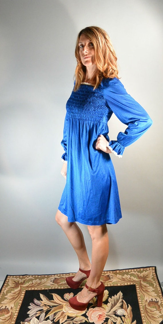Electric Blue Baby Doll Dress 60s Smocked By