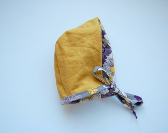 mustard yellow/floral reversible baby bonnet