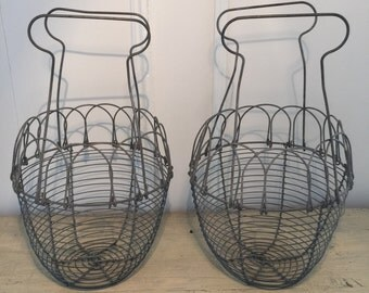 French Vintage Wire Egg Basket
