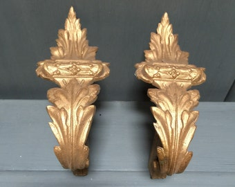 Gorgeous Set of 2 French Antique Gilt Bronzed Ormolu Curtain Tie Backs, French Château