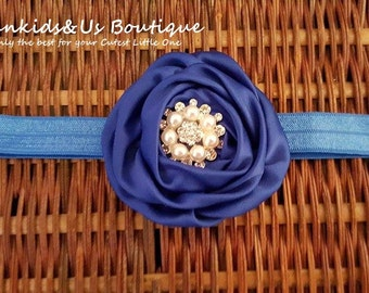 Royal Blue Baby Headband Flower - Rose Rosette baby headband - Royal blue flower girl headband