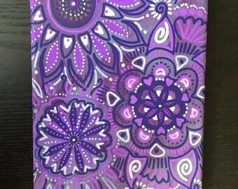 Purple Paisley Flowers Painting 8x10 Canvas