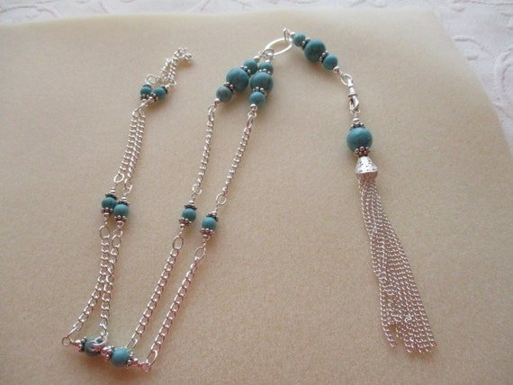Magnesite Lanyard Necklace with Detachable Tassel L6151743
