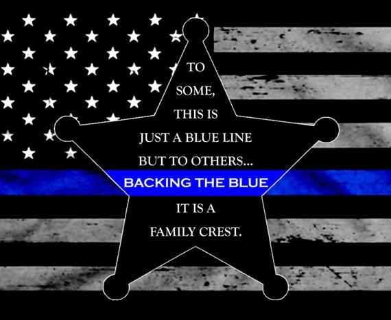 law enforcement support thin blue line backing the blue wood. Black Bedroom Furniture Sets. Home Design Ideas