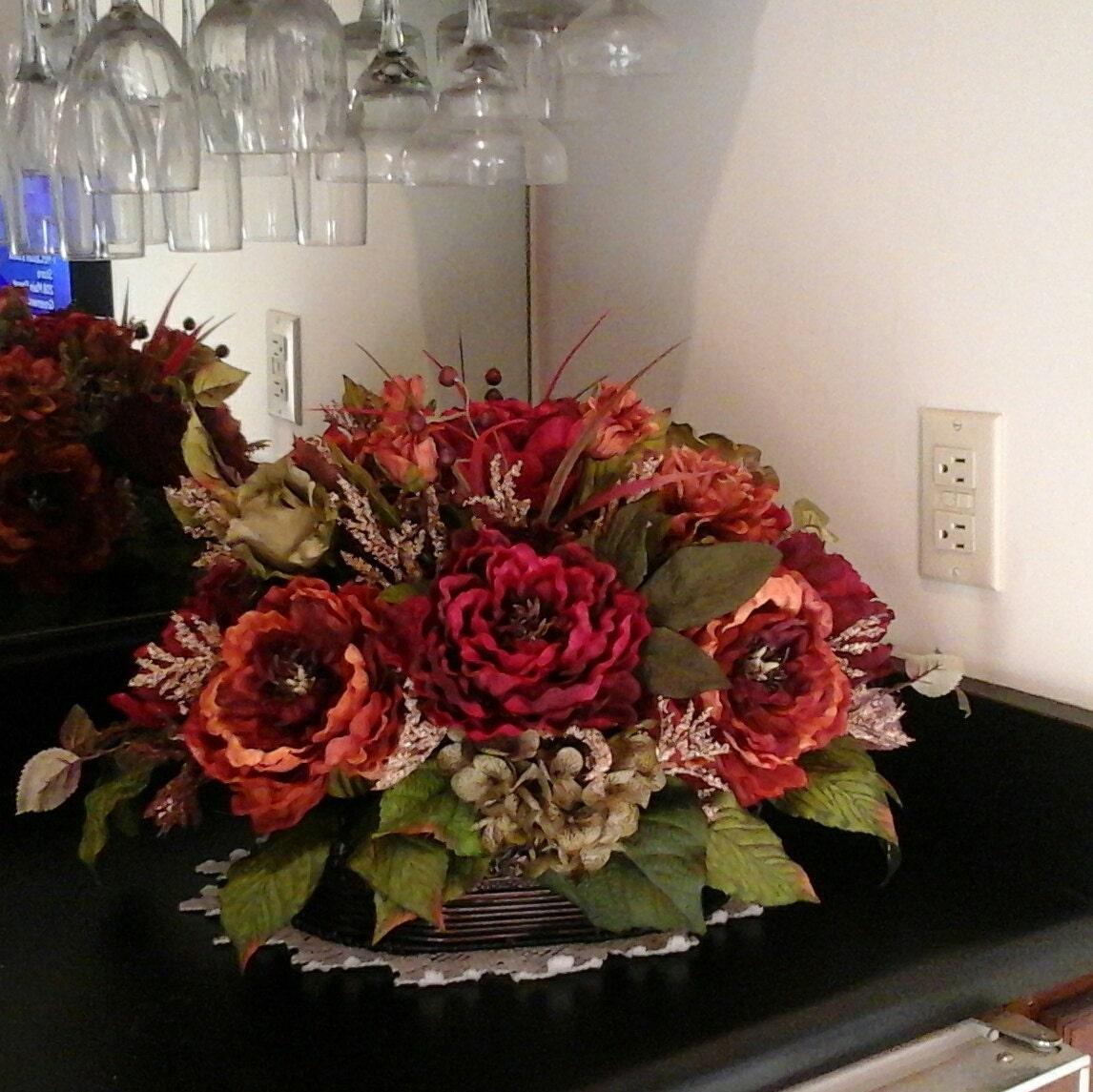 Floral arrangement elegant tuscan silk centerpiece