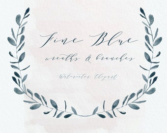 BLUE wreaths and branches. Watercolor clip art hand drawn. Light and darck blue branches, wedding invitation, Laurel Wreath