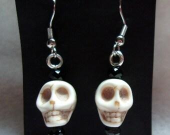 Howelite Skull Earrings