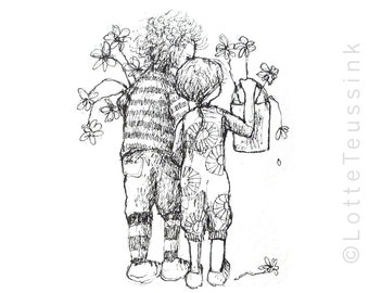 Cute ACEO with black & white drawing of 2 children, original ACEO card, ATC, miniature art, small artwork, original art, Dutch artist, nl