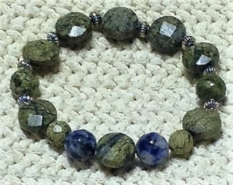 Lapis Lazuli Serpentine Faceted round and button beads - OOAK