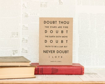 Never Doubt I Love Hamlet Card: Brown Kraft Paper