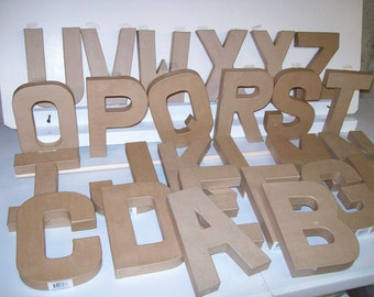 Paper mache letters etsy for 24 cardboard letters