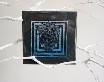 """Linocut """"Mexican Skull"""", linocut, skull, skull, calavera, sugar skull, dia de los muertos, day of the dead, blue, black"""