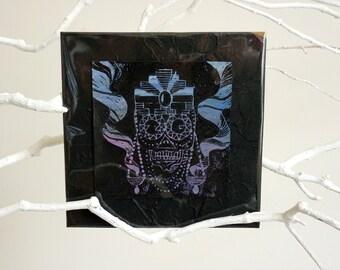 """Linocut """"Mexican Skull"""", linocut, skull, skull, calavera, sugar skull, dia de los muertos, day of the dead, violet, black"""