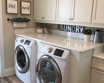 Laundry Room Sign | Laundry Sign | Wash Dry Fold Repeat Sign | Reclaimed Wood Sign | Mudroom Signs | Laundry Room Wall Decor | Fixer Upper