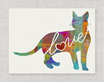 Bengal Cat Love - A Bright Colorful Watercolor Art Print for Cat Lovers - Home Decor Wall Hanging Gift - Can be Personalized With Pet's Name