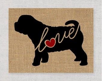 Shar Pei / Shar-pei Love - Burlap Wall Art Decor Gift for Dog Lovers Personalize With Name - More Breeds - Rustic Silhouette (101s)