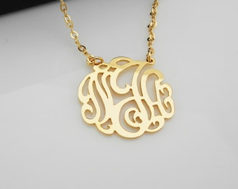 """1"""" Monogram Name Necklace Sterling Silver 925 Personalized Jewelry"""