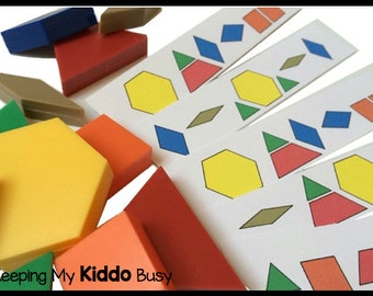 Pattern Blocks Busy Bag with Laminated Puzzles - Toddler, Preschool