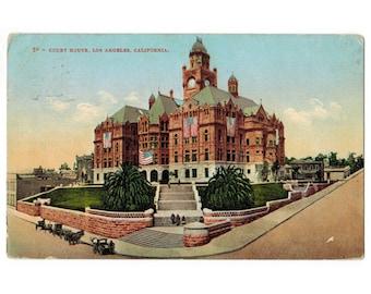 Los Angeles California vintage postcard | Los Angeles County Courthouse | 1910s CA travel souvenir | Richardsonian Romanesque architecture
