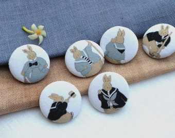 "Fabric Buttons - Rabbit Family Fabric Covered Buttons - 1.25"" 6's"