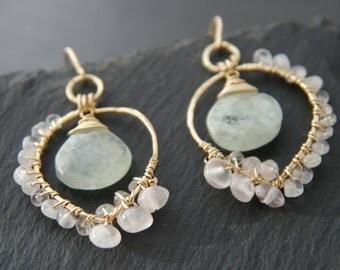 Aquamarine, Rose Quartz, Chandelier Earrings, 14K Gold Fill, Wire Wrapped, Gold Leaf Earrings, Gemstone Briolette, Gemstone Earrings, Hippie