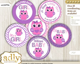 Girl Owl Cupcake Toppers for Baby Shower Printable DIY, favor tags, circles, It's a Girl, Glitter - aa52bPP0