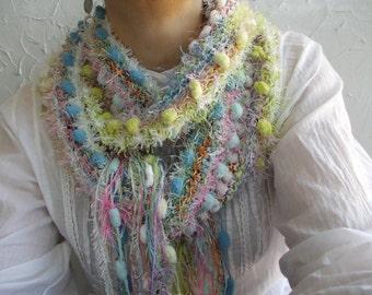 Soft And Warm Morning...Rustic Pom Pom Scarf, Colorful Neck Warmer, Women Winter Fashion , Airy Soft Hand Knit Scarf, Fashion Textured Shawl