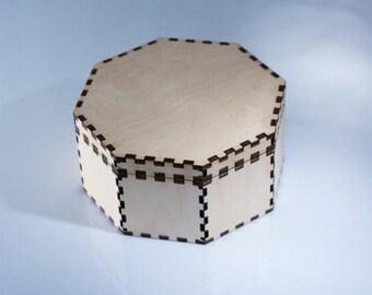 Laser Pattern DXF Octagon Jewelry Box
