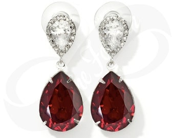 Bridesmaid Earings Ruby Earings Red Earings Bridal Jewelry Bridesmaid Jewlery Bridal Jewlery Wedding Earrings Bridesmaid Gift