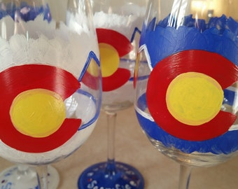Mountain Drinks- Hand Painted Wine Glasses (Set of 4)