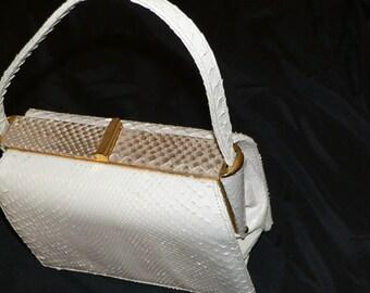 Vintage Nicholas Reich White Snakeskin Box Purse /White Reptile Purse