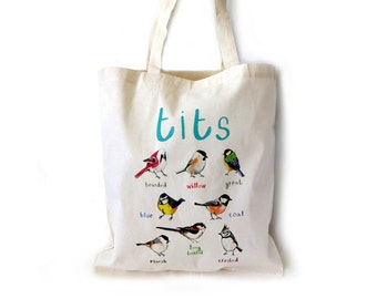 Tits Cotton Tote Bag - Humorous Eco cotton bag