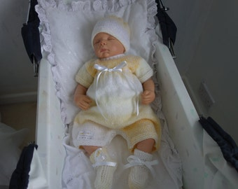 """Hand knitted baby romper suit with beanie hat and bootees to fit baby 0-3 months or reborn 19-22"""" in variegated lemon DK"""