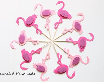 12 Flamingo Cupcake Toppers