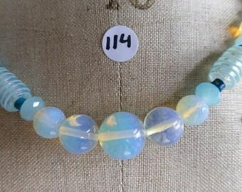 Necklace of aqua blue beads