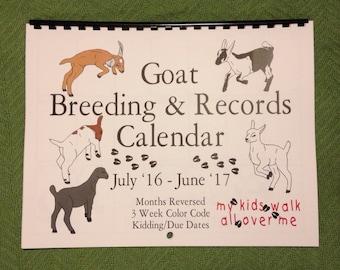 KIDS WALK  - Goat Breeding and Records Calendar - July-June