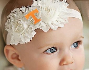 Tennessee Volunteer Baby/ Toddler Shabby Flower Hair Bow Headband