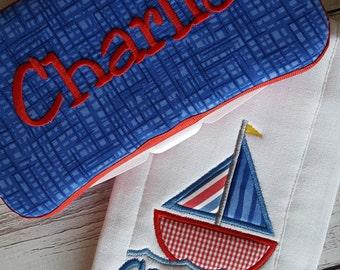 Sailboat Burp Cloth Wipes Case Baby Gift Set