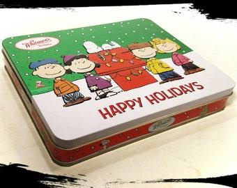 Collectible Whitman's Chocolate Sampler Tin with Peanuts Gang/ Happy Holidays Tin /Chocolate Tin/Storage Tin/Gift Tin/Best Gift Idea/ F1414