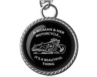 Biker Chick Necklace, Woman Bikes, Motorcycle Image Pendant Key Chain Handmade
