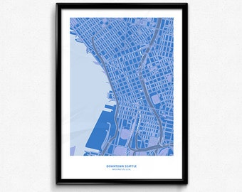 Seattle Downtown Map Poster Art Monochromatic Color