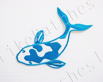 Beautiful Fancy Carp Blue Color, Fish, Mirror Carp New Sew on / Iron on Patch Embroidered Applique Size 9.2cm.x6.2cm.