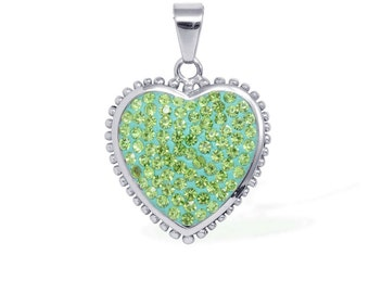 Green Austrian Crystal Heart Pendant Without Chain Silver-Tone